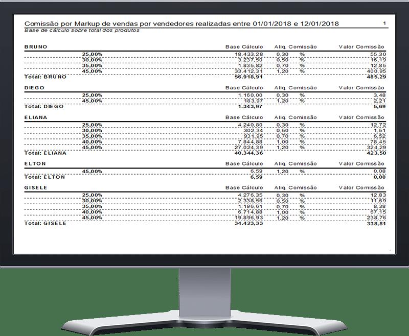 VIP ONE - Sistemas para Lojas - Relatório de Comissão